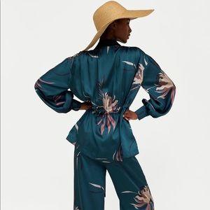 Floral print pants & jacket set